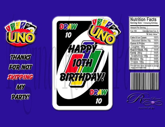 Uno Theme Custom Chip Bags Uno Birthday Party Uno Cards Etsy