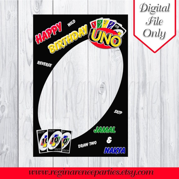 Uno Photo Prop Frame Uno Birthday Uno Party Uno Cards Etsy
