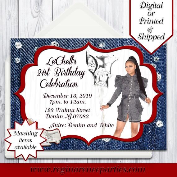 Denim Diamonds Theme Invitations Denim Theme Birthday Etsy