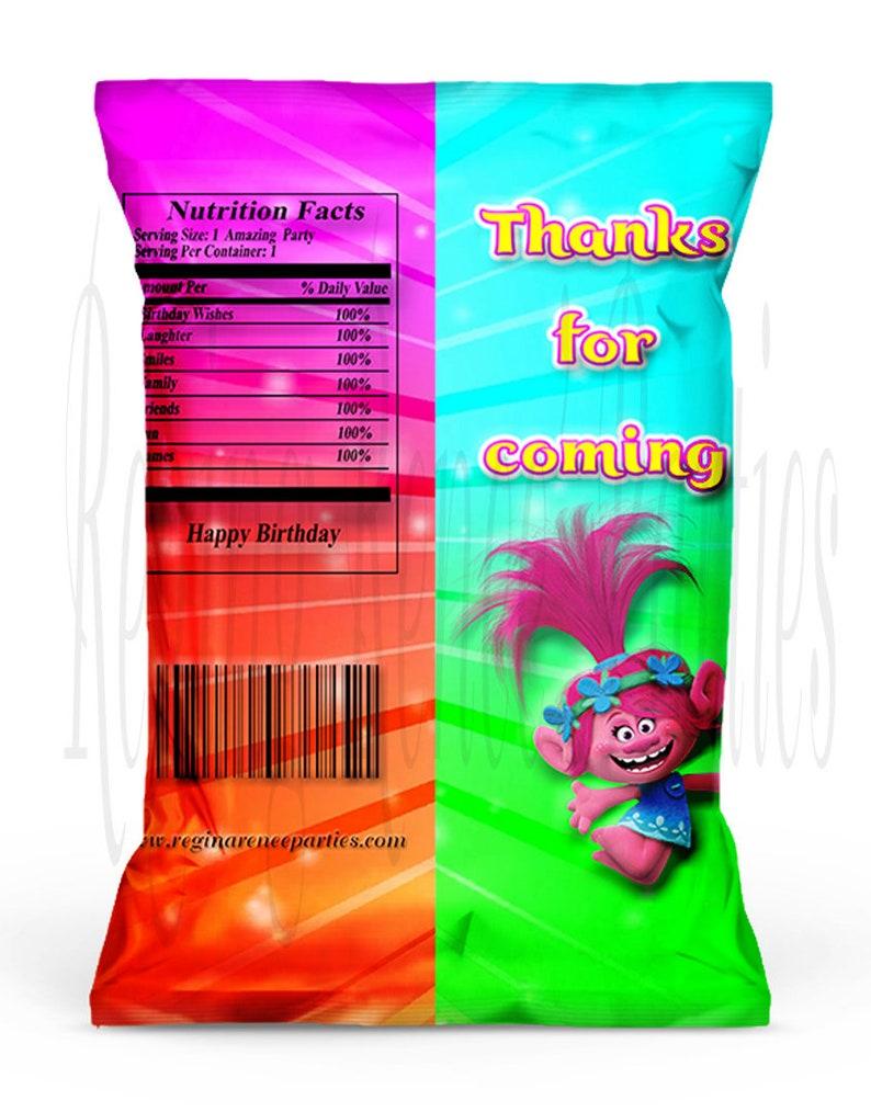 Trolls Snack Bags Trolls Theme Chip Bags Trolls Party Favors Trolls Party Printables Trolls Favor Bags Trolls Birthday Party