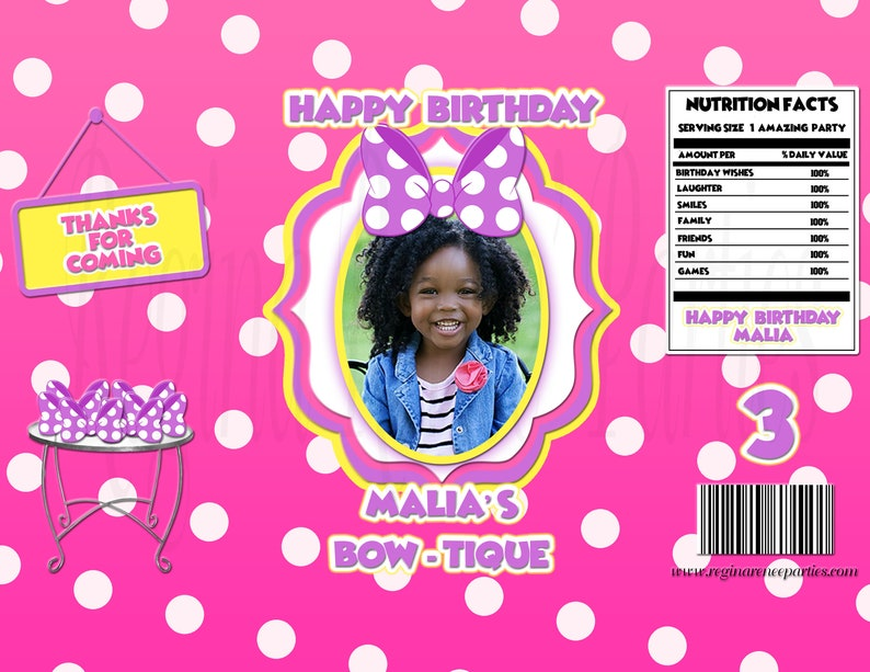 Bow-tique Favor Bags Party Favors Birthday Favors Treat Bags Printable Printed Bow-tique Mouse Inspired Chip Bags