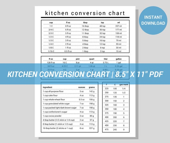 Kitchen Conversion Chart Modern Minimalist Printable Pdf Etsy