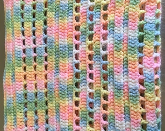 Rainbow hand-knitted baby blanket