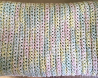 pastel hand-knitted baby blanket