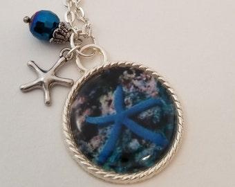 Fun Starfish Charm Necklace, Ocean Necklace, Custom Necklace, Photo Art Necklace. Wearable Art, Starfish Pendant Necklace, Statement Piece