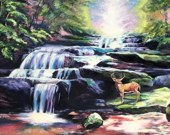 Beside The Cascades. waterfall oil painting