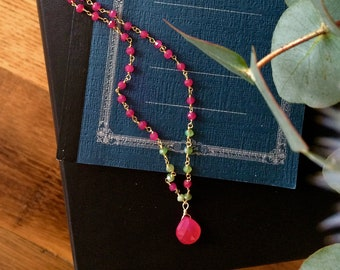 Rosary chain gold and Ruby heated/Chrysoprase/Agate Rose