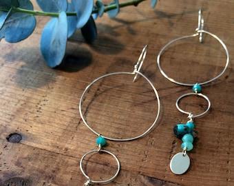Dangle hoop earrings gold and Turquoise