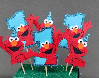 Elmo Birthday Cupcake Topper Set Of 6