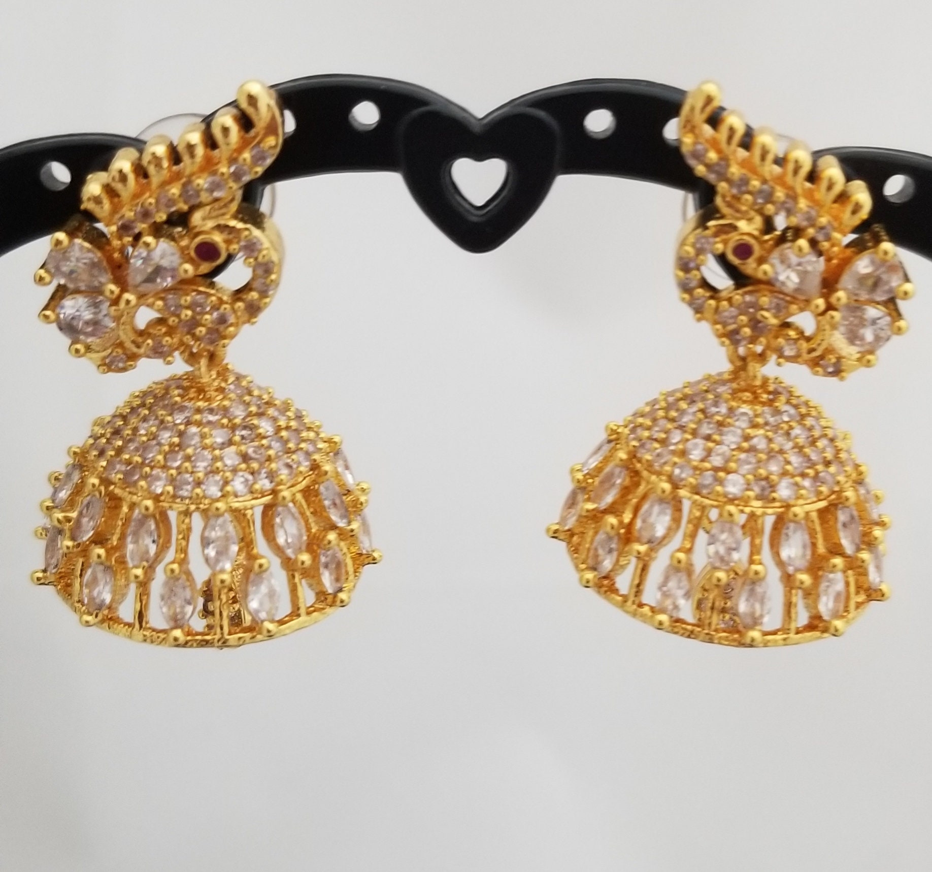 Peacock Micro Goldpolish with CZ white Stone Jhumkis with