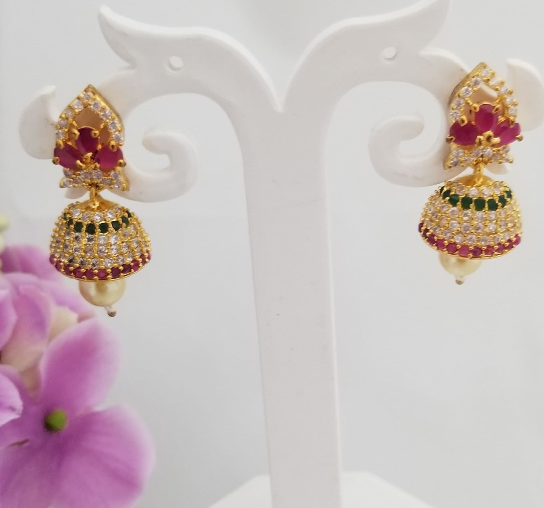 Micro Goldpolish with CZ Stone Jhumkis with pearl hanging