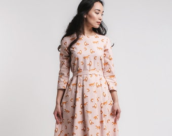 dusty pink midi dress fox print romantic dresses midi length garden party tea lenght dress mori girl dress 50s 60s - Garden Party Dress