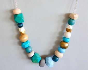 Blue and Gold Ocean Polymer Clay and Wooden Bead Necklace