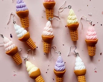 Laser Cut Jewelry Supplies.8 Pieces.Soft Serve Ice Cream Charms.