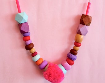 Pink Pom Pom Polymer Clay Wooden Bead Necklace