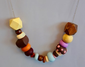 Polymer Clay and Wooden Bead Necklace