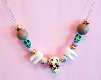 Day Of The Dead Tooth Eyeball Necklace