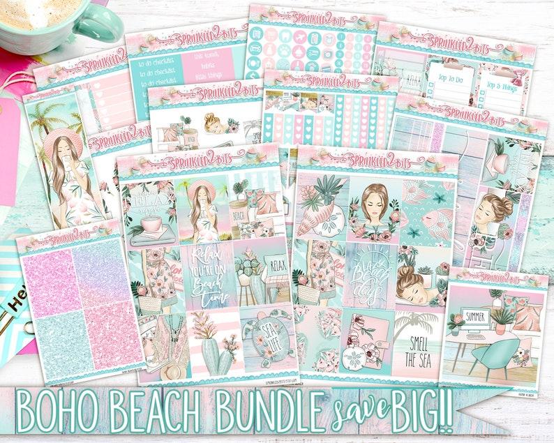 for Erin Condren Vertical and Happy Planner-SpringSummer Boho Beach Bundle