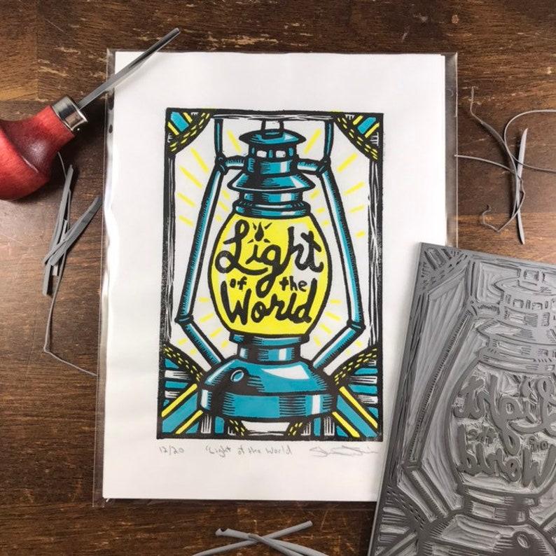 Light if the World  Linocut  Handmade Print  Limited image 0
