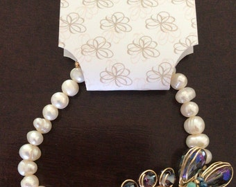 Cultured pearl bracelet and crystals