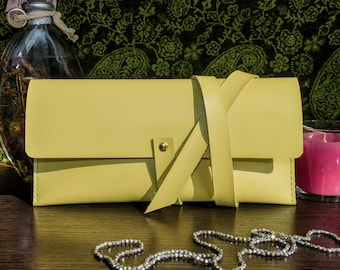 Leather wrap clutch Women leather clutch Womens wallet clutch Women purse Leather long wallet Yellow leather clutch Clutch bag Evening purse