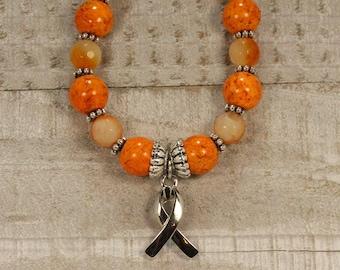 Orange awareness bracelet - Agate Stones