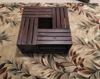 Crate coffee table; wood stained