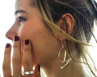 Earrings, waves, silver