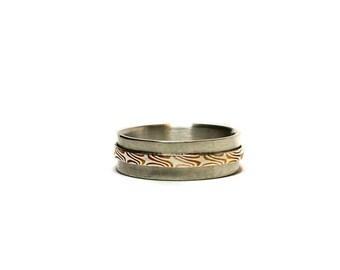 Ring, MOKUME GANE, silver, copper