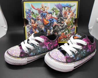 f6413d72af49 Bedazzled Converse Chucks - Girls Bling Converse - All Star DC Super Hero -  Custom Coverse - Bling Converse Kids   Toddlers - Baby Shoes