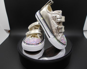 fa91569c4507 Bedazzled Converse Chucks - Girls Bling Converse - Crystal Infant Converse  - Custom Coverse - Bling Converse Kids   Toddlers - Baby Shoes