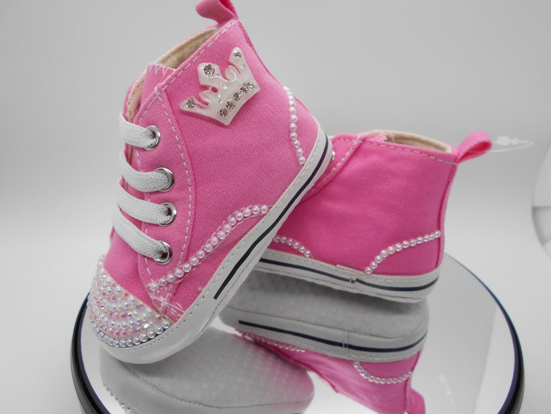 4c99e2d02974 Bedazzled Girls Crib Shoe Pearl Infant Shoe Crystal Infant