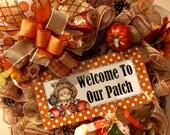 Pumpkin Wreath, Scarecrow Wreath, Fall Wreath, Fall Decor, Front Door Wreath, Autumn Wreath, Beefuzzled