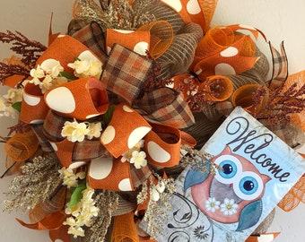 Beefuzzled - Deco Mesh Wreath - Owl Welcome
