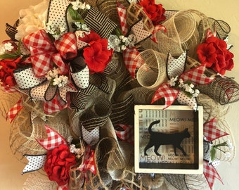 Beefuzzled Deco Mesh Kitty Cat Wreath