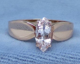 Size 8.25 Genuine Morganite Ring - 10K Rose Gold - Marquise - Solitaire