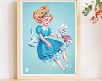 Art Print Alice / Home decor/ cute gift /  poster kids room/ Wonderand illustration