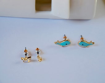 Set of 2 pairs of studs, whales and sea gull