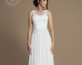 7904eaec8fadd Lovely Chiffon Empire Wedding Dress With Lace