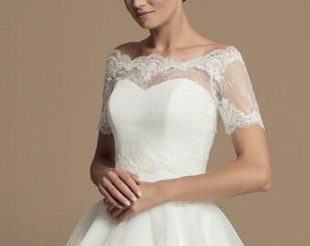df91c4c8df4bed French Lace Bridal Bolero - Wedding Lace Bolero