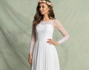 Chiffon Empire Wedding Dress With Lace Long Sleeve