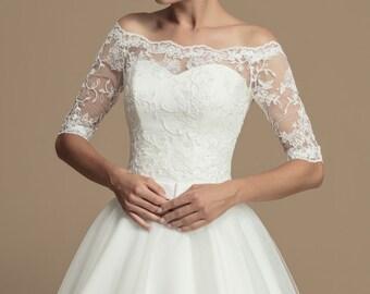 c87073cb38f048 Off-Shoulder Bridal High-Quality Lace Bolero - Wedding Bolero