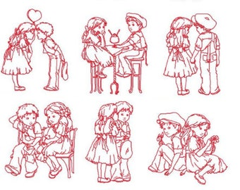 Young Love Machine Embroidery Design Set 5X7