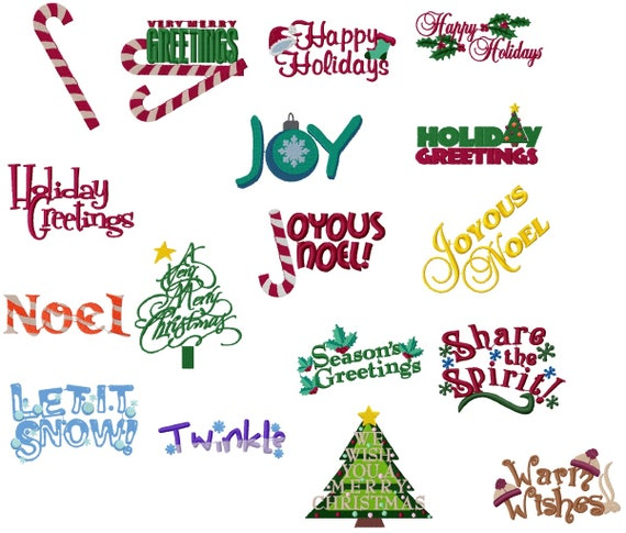Christmas Sayings.Christmas Sayings Machine Embroidery Design Set 4x4