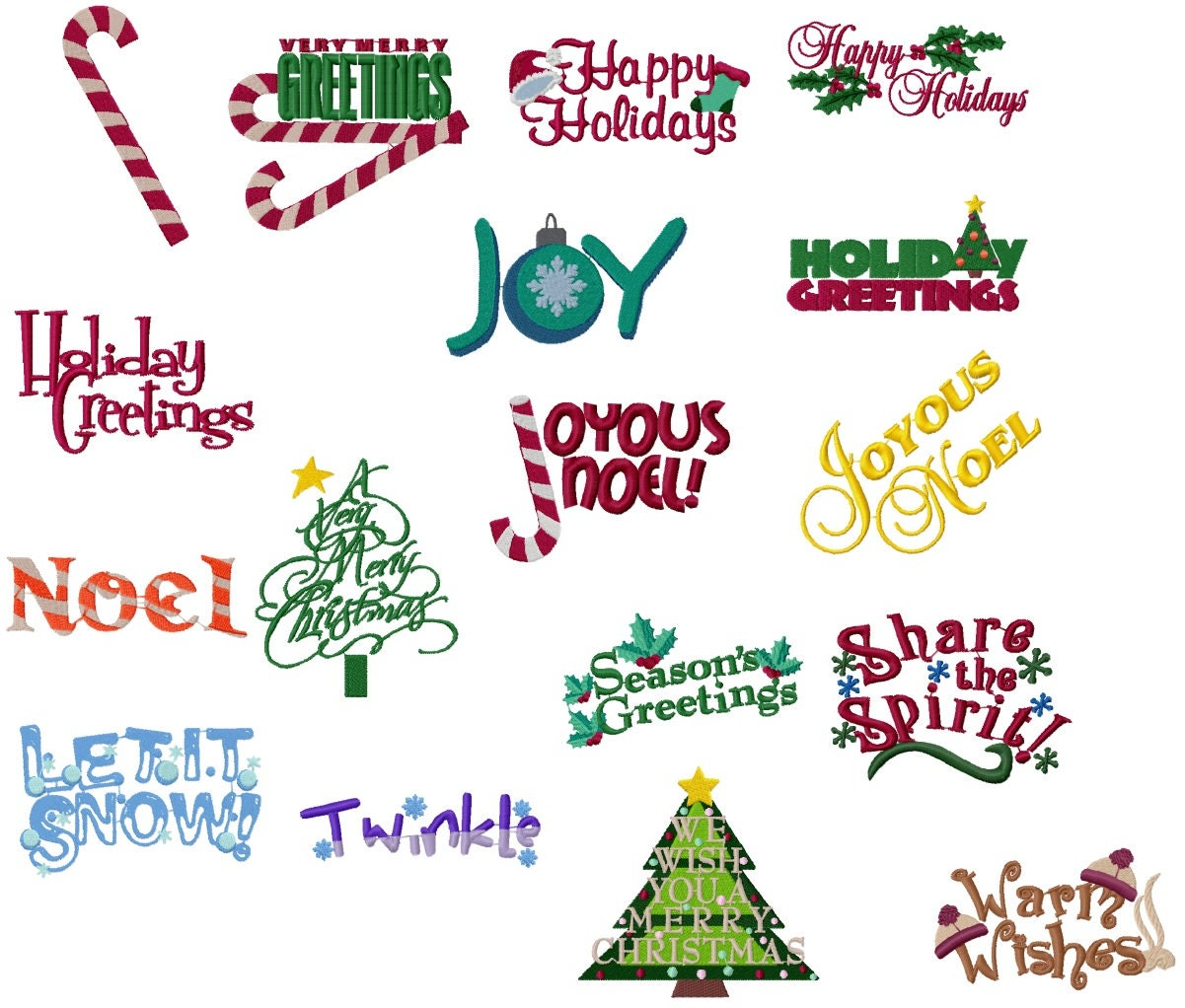 Christmas Sayings Machine Embroidery Design Set 4x4 Etsy