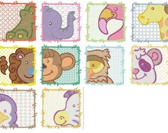 Zoo Animals Machine Embroidery Design Set 4X4