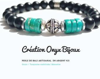 Bracelet fin tressé turquoise africaine mate galet en pyrite perles en argent