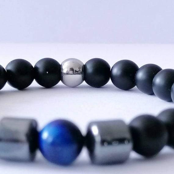 RARE 14 mm Naturel Blanc Agate Gemstone Round Beads Stretch Bracelet Jonc