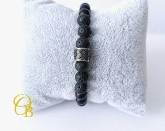 Lava stone bracelet / stretchy men's bracelet / custom bracelet