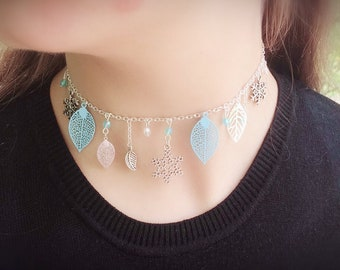 Choker Necklace blue and silver, snowflakes